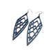 Arrowhead 01 [L] // Leather Earrings - Navy Blue - LIGHT RAZOR DESIGN STUDIO