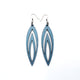 Totem 08 [L] // Leather Earrings - Blue Pearl - LIGHT RAZOR DESIGN STUDIO