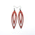 Totem 07 [L] // Leather Earrings - Red - LIGHT RAZOR DESIGN STUDIO
