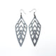 Arrowhead 02 [L] // Leather Earrings - Silver - LIGHT RAZOR DESIGN STUDIO