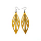 Petal 03 [L] // Leather Earrings - Gold - LIGHT RAZOR DESIGN STUDIO