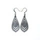 Gem Point 06 [S] // Leather Earrings - Silver - LIGHT RAZOR DESIGN STUDIO