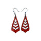 Totem 09 [S] // Leather Earrings - Red - LIGHT RAZOR DESIGN STUDIO