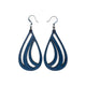Drop 01 [L] // Leather Earrings - Navy Blue - LIGHT RAZOR DESIGN STUDIO