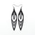 Totem 02 [L] // Leather Earrings - Black - LIGHT RAZOR DESIGN STUDIO
