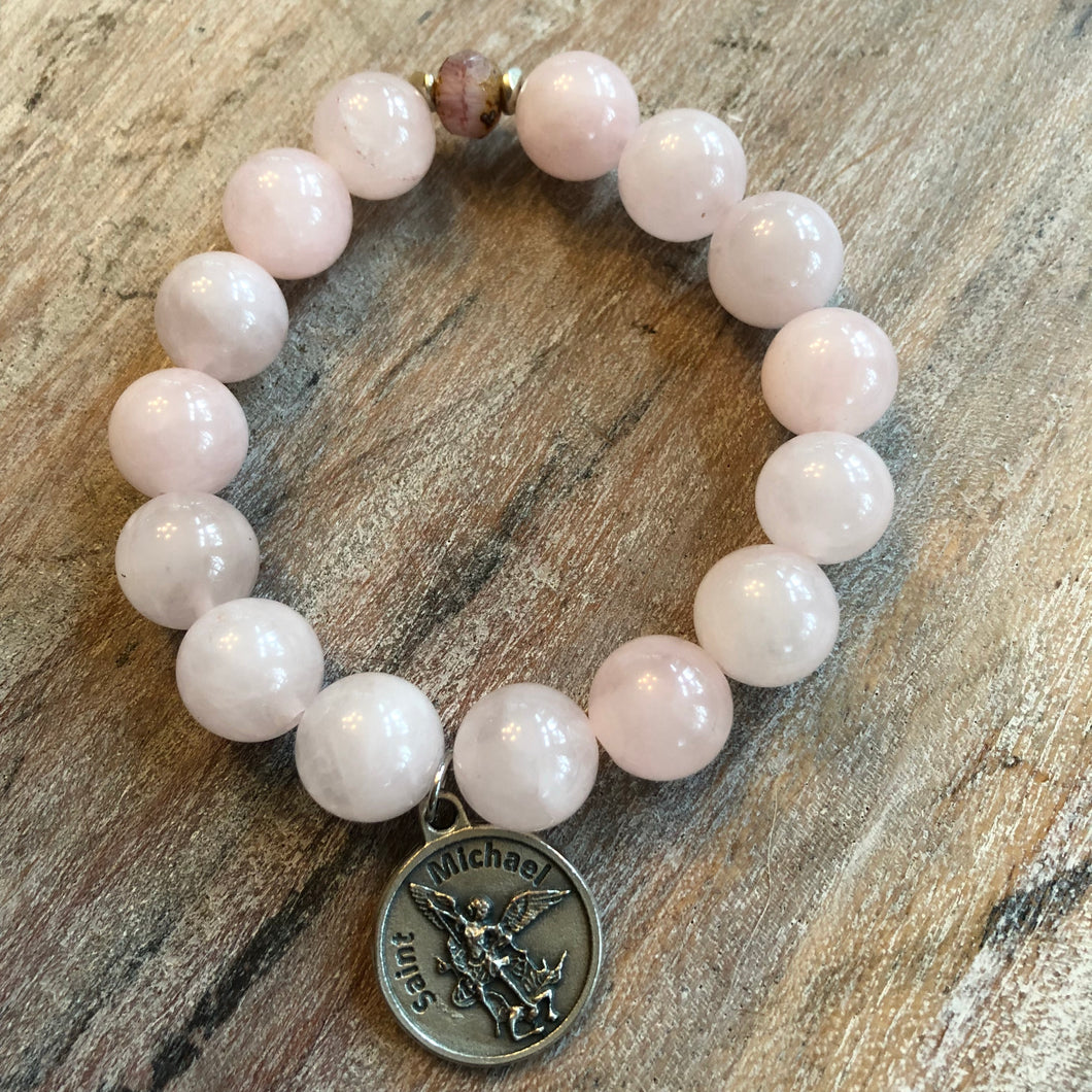 Rose Quartz Gemstone Bracelet with Archangel Michael  Charm