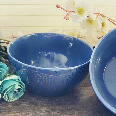 Blue & Gold Detail Cereal Bowl - the-little-details-home-accents