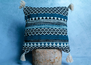 Black and Blue Patterned Cushion Cover