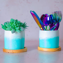 Load image into Gallery viewer, Blue Ombre Concrete Planter