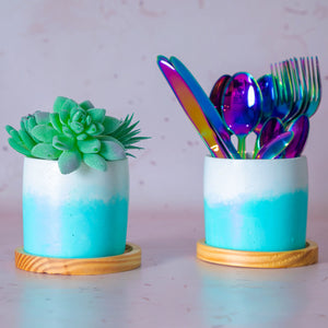 Blue Ombre Concrete Planter