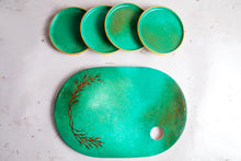 Load image into Gallery viewer, Green Toned Ceramic Tray & Coasters Set