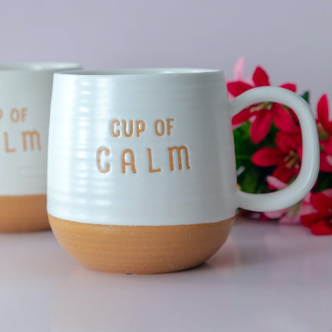 "Ceramic Coffee  Mug with Stamped Lettering ""Cup of Calm"""