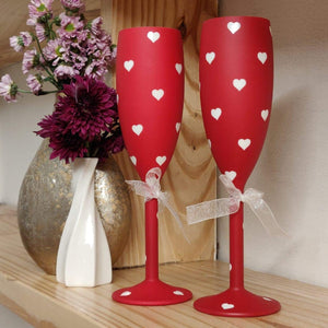 Non Breakable Champagne Glass Gift Set - Red