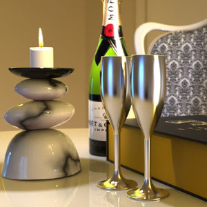 Non Breakable Champagne Glass Gift Set - Silver
