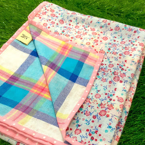Bright Florals & Playful Checks Blanket