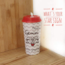 Load image into Gallery viewer, Sipper Cup with Coffee & Sipper lids by Chirpy Cups - Zodiac Signs