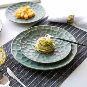 Green Textured Plates - the-little-details-home-accents