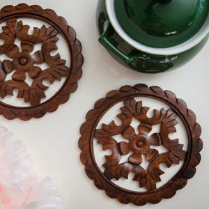 Hand Carved Wooden Trivets - Set of 2 - the-little-details-home-accents