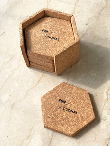 Hex Cork Coasters with Stand - Set of 6