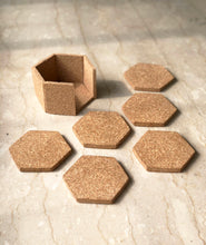 Load image into Gallery viewer, Hex Cork Coasters with Stand - Set of 6