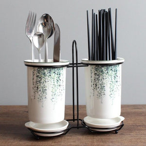 Leaf Print Cutlery Stand - the-little-details-home-accents