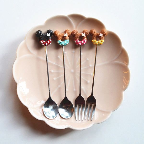 Mini Doughnut Mouse Dessert Cutlery Set - the-little-details-home-accents