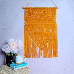 Orange Macrame Wall Hanging