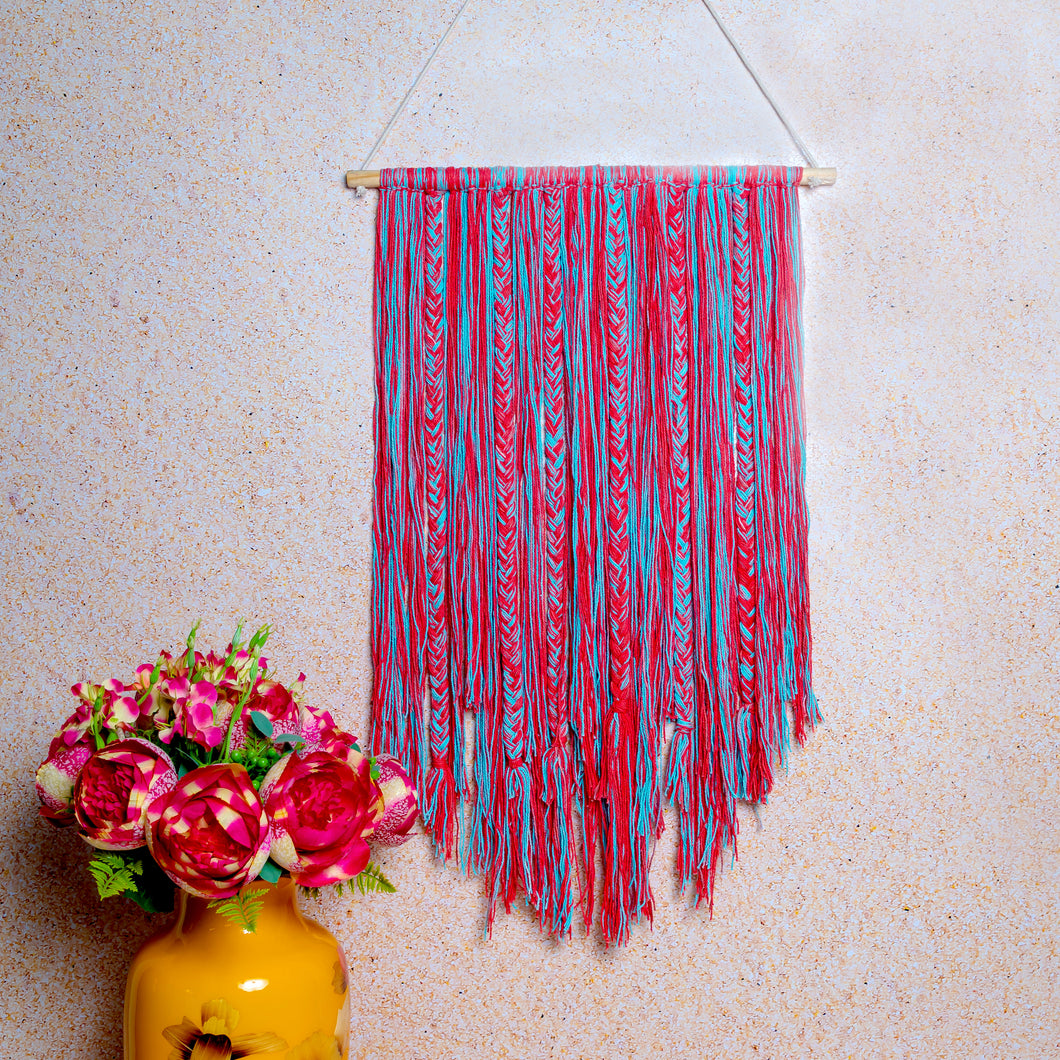 Blue & Red Braided Macrame Wall Hanging