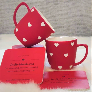 Designer Tea Cups Set of 2 - Red