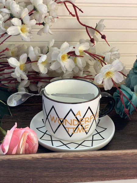Black and White Cup & Saucer - the-little-details-home-accents