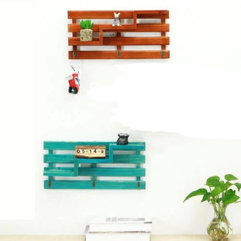 Rustic Wooden Wall Shelf Rack