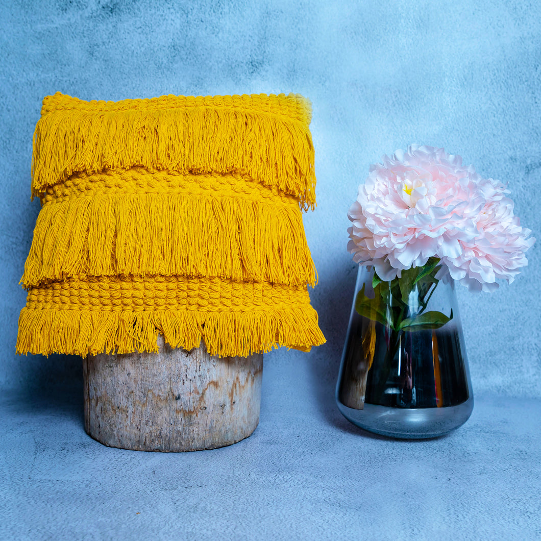 Mustard Fringed Cushion Cover