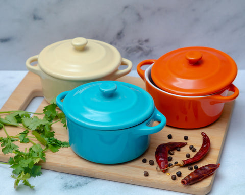 Mini Ceramic Sauce Pots - Set of 2