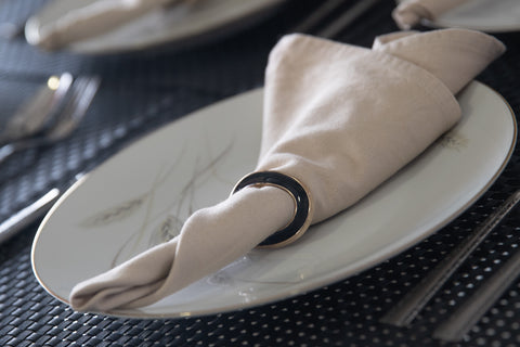 Black Ovate Napkin Rings - Set of 6 - the-little-details-home-accents