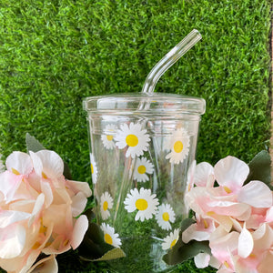 Printed Glass Sipper with Straw - Daisy