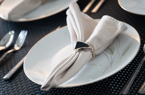 Black Stone Triangular Napkin Rings-Set of 6 - the-little-details-home-accents