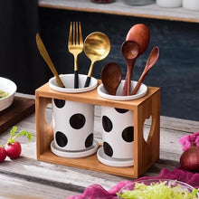Load image into Gallery viewer, Polka Dot Cutlery Stand