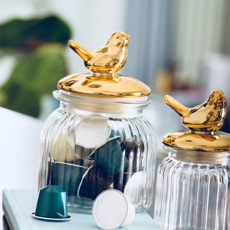 Gold Bird Jar - the-little-details-home-accents