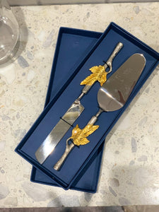Gold Leaf Cake Knife Set