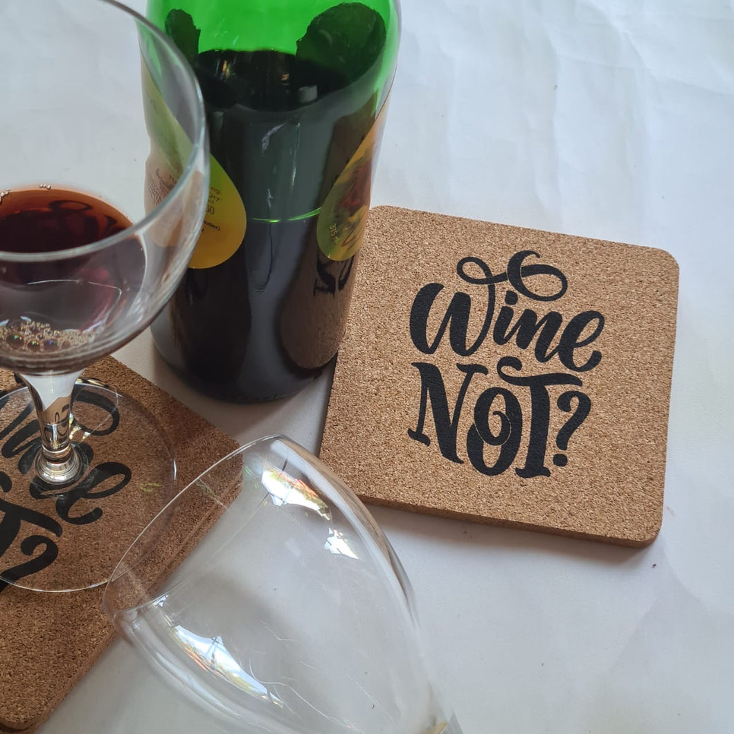 Wine Not Cork Coasters - Set of 4