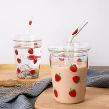 Load image into Gallery viewer, Printed Glass Sipper with Straw - Strawberry