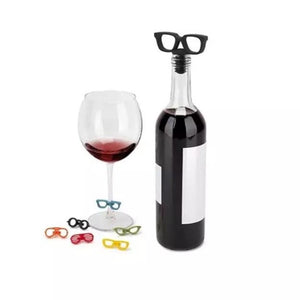 Wine Glass Marker & Bottle Stopper Set - Sunglasses