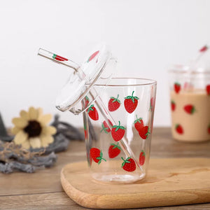 Printed Glass Sipper with Straw - Strawberry