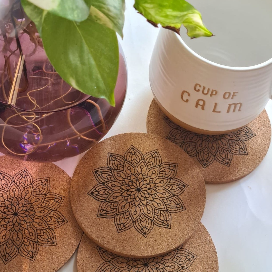Mandala Print Cork Coasters - Set of 4
