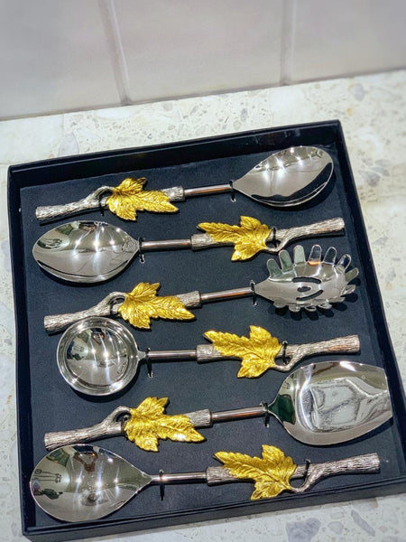 Gold Leaf Serving Spoon Set of 6