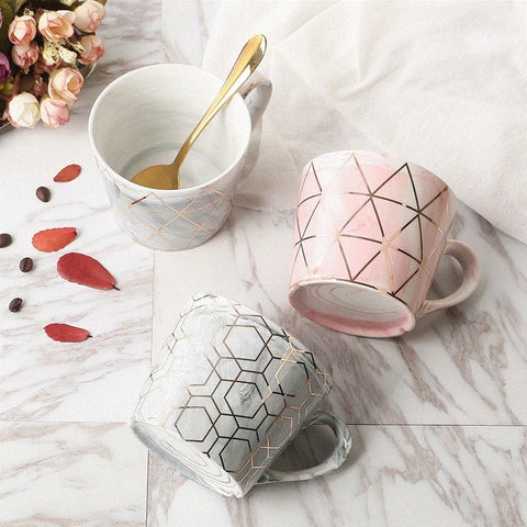 Marbled Gold Geometric Mug