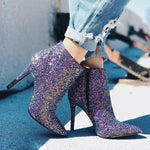 Bling Sequined | Zipper Boots - Purple or Silver