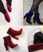 Fashion Round | Toe Winter Boots - Wine Red or Blue