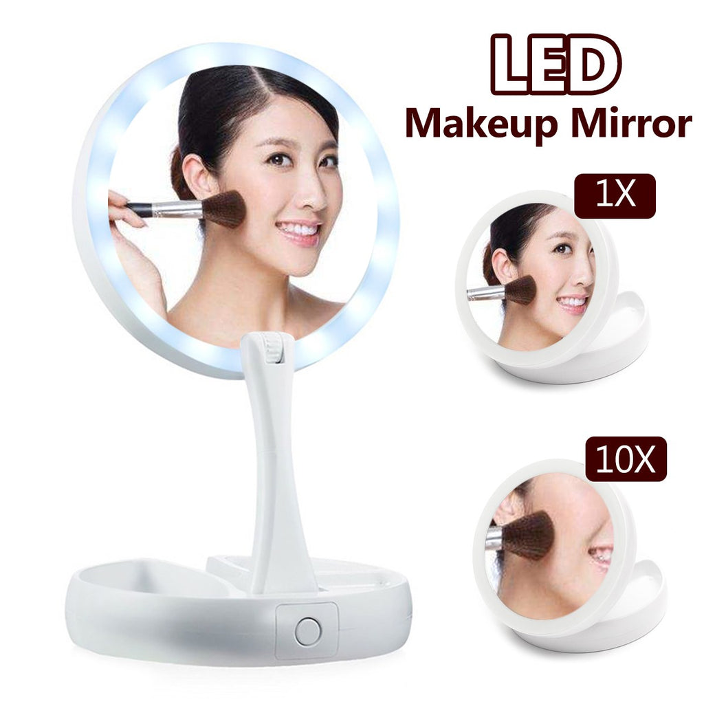 Travel Makeup Mirror With LED Light Double-Sided