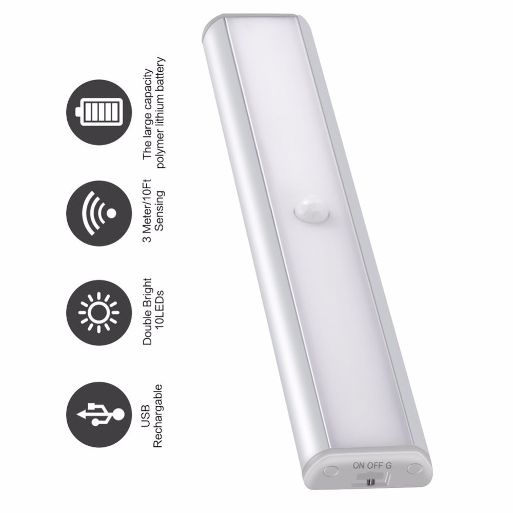 PIR Motion Sensor LED Light USB Rechargeable